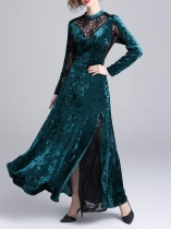Women Vintage Style Lace Patchwork Hollow Velvet Long Sleeve Long Party Dress