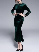 Women Vintage Style Solid Standing Collar Velvet Fish Tail Party Dress