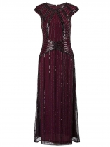Wine red Women Vintage Style Beaded Sequin Cap Sleeve Long Evening Party Dress