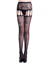 Women Sexy Lingerie Lace Hollow Crotchless Fishnet Stockings Suspender Pantyhose