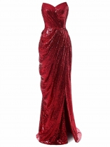 VESTIDO BRIDESMAID DE SEQUIN STRAPLESS