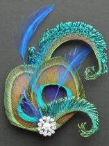 Women Fashion Vintage Style Rhinestone Peacock Feather Hair Clip Party Clip
