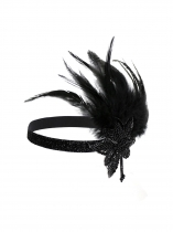 Black Women Fashion Vintage Style Feather Sequin Elastic Headband Prom Hair Accessories
