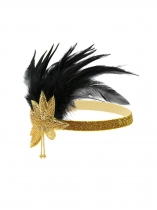 Gold Women Fashion Vintage Style Feather Sequin Elastic Headband Prom Hair Accessories