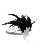 White Women Fashion Vintage Style Feather Sequin Elastic Headband Prom Hair Accessories