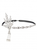 Silver Women Fashion Fringe Pearl Tassel Rhinestone Headband Hair Accessories