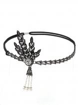Black Women Fashion Fringe Pearl Tassel Rhinestone Headband Hair Accessories