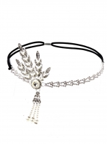 Silver Grey Women Fashion Fringe Pearl Tassel Rhinestone Headband Hair Accessories