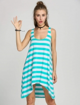 Women's Girl Casual Stripe Irregular Beach Dress Sleeveless Sundress