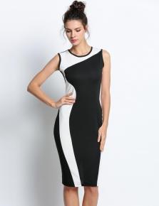 white Ženy geometrie Design rukávů pružný večer O-Neck Slim šaty 5622757a60