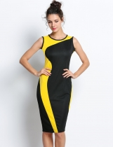 Yellow Geometry Sleeveless O-Neck Stretchy Going Out Dress