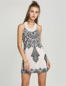 Nové Dámské Květinové Klasický Vintage Límec Exotické Mini šaty ad807b91af