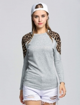 Gray Leopard Grain Decoration Round Brought Long Sleeve Sweatshirt