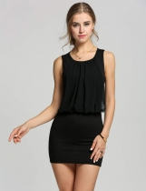 Black Ladies Stylish Neck Sleeveless Chic Tunic Causal Mini Going Out Party Dresses