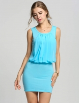 Blue Ladies Stylish Neck Sleeveless Chic Tunic Causal Mini Going Out Party Dresses
