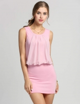 Pink Ladies Stylish Neck Sleeveless Chic Tunic Causal Mini Going Out Party Dresses