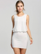 White Damas elegante cuello redondo sin mangas túnica Causal Mini Dress