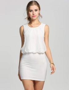 582922ef8f14 White Ladies Stylish Neck Sleeveless Chic Tunic Causal Mini Going Out Party  Dresses
