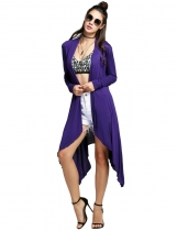 NavyBlue Irregular Open Stitch Solid Asymmetric Hem Long Cardigan