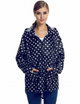 Meaneor Fashion Women Girls Dot Raincoat Fishtail Hooded Print Jacket Rain Coat