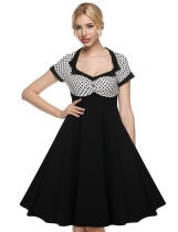 White On Clearance 1950s Dots Short Sleeve Swing Midi Party Dress