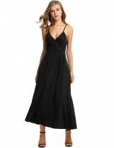 Meaneor Black Women Strap V-Neck Maxi Soild Pleated Long Casual Dresses
