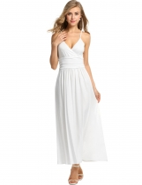 Meaneor White Women Strap V-Neck Maxi Soild Pleated Long Casual Dresses