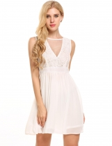 White V-Neck Lace and Mesh Patchwork Chiffon Dress