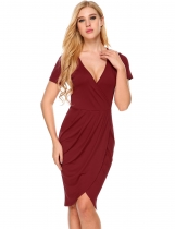 Red Deep V-Neck Short Sleeve Faux Wrap Split Bodycon Dress