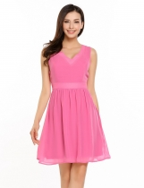 Light pink Sleeveless Solid Cut Out Back Skater Dress
