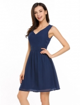 Dark blue Sleeveless Solid Cut Out Back Skater Dress