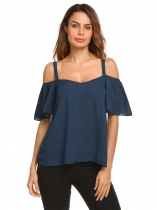 Dark blue Spaghetti Strap Cold Shoulder Short Sleeve Chiffon Tops