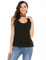Black V-Neck Sleeveless Solid Tank Tops