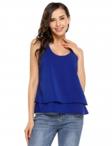 Blue V-Neck Sleeveless Solid Tank Tops