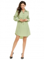 Green Turn Down Collar Lace up Front High-low Dress