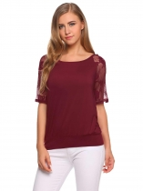 Wine red O-Neck Half Sleeve Lace Patchwork Casual Tops