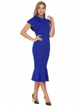 Royal Blue O-Neck Single Sleeve Solid Bodycon Slim Pencil Ruched Dress