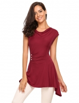 Wine red O-Neck Sleeveless Button Solid Asymmetry Tops