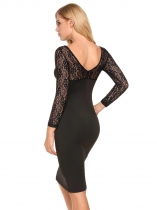 Femmes V-Neck Long Sleeve Lace Patchwork Slim Pencil Dress