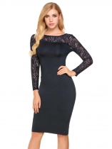 Dark blue Back V Neck Lace Patchwork Slim Pencil Dress