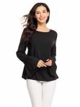 Black Flare Sleeve Keyhole Black O Neck Solid Tops