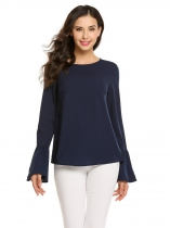 Navy blue Flare Sleeve Keyhole Black O Neck Solid Tops