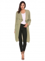 Green Long Sleeve Solid Chiffon Sheer Jacket
