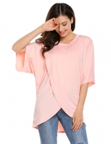 Nude O-Neck Half Kimono Sleeve Cross Asymmetry Hem Loose Tops