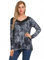 Black Women Fashion Long Sleeve Printed Lace-trimmed T-Shirt