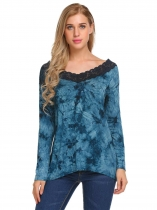 Blue Women Fashion Long Sleeve Printed Lace-trimmed T-Shirt
