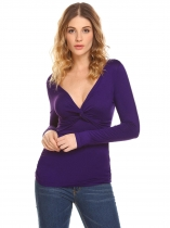 Purple Women V-Neck Long Sleeve Front Twis Knot T-Shirt