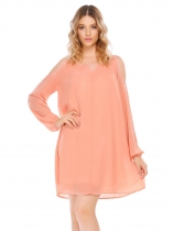 Pink Cold Shoulder Long Sleeve V Neck Chiffon Loose Dress