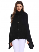 Black High Neck Solid Travel Wrap Poncho Pullover Sweater