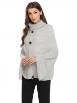 Light gray High Neck Solid Travel Wrap Poncho Pullover Sweater